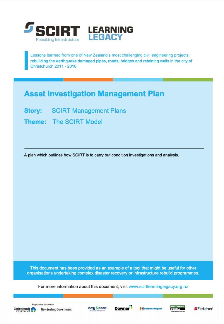 Asset Investigation Management Plan Cover