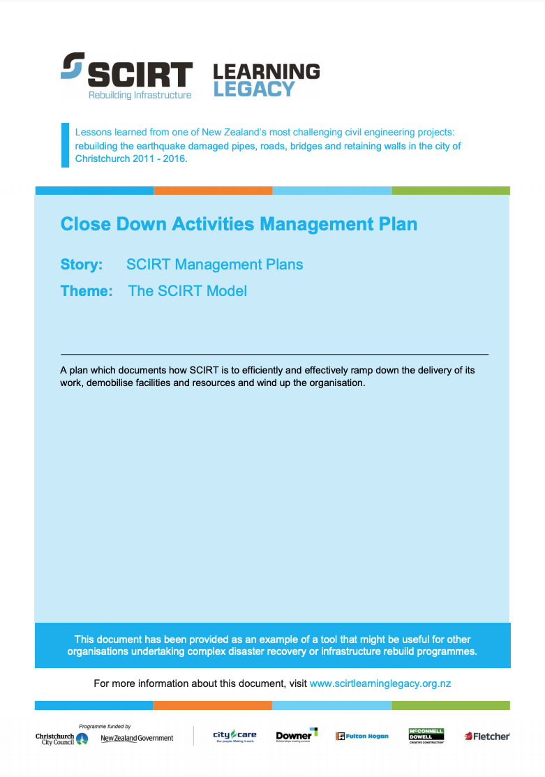 Close Down Activities Management Plan Cover