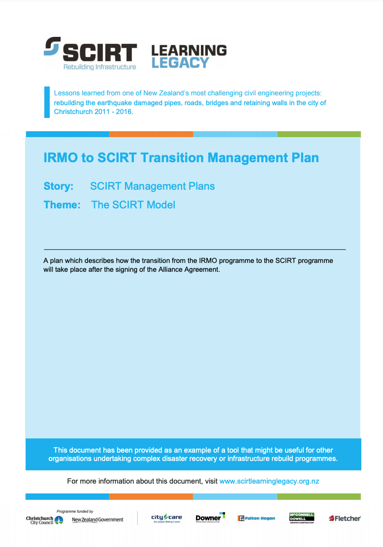 IRMO to SCIRT Transition Management Plan Cover