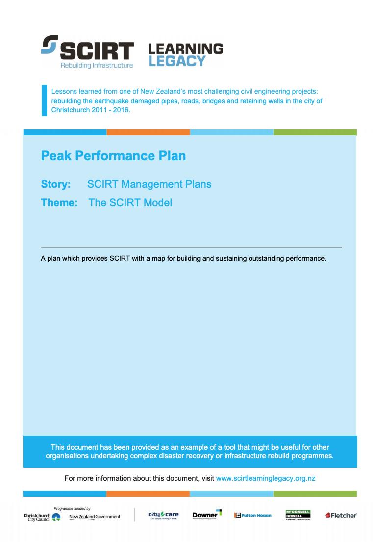 Peak Performance Plan Cover
