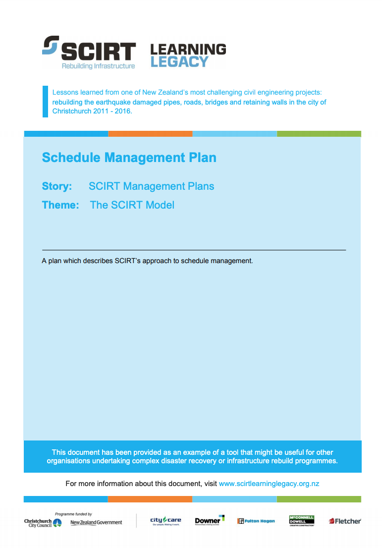 Schedule Management Plan Cover