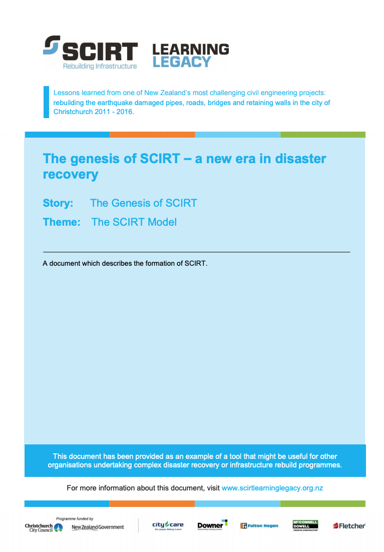The genesis of SCIRT - new era in disaster recovery Cover