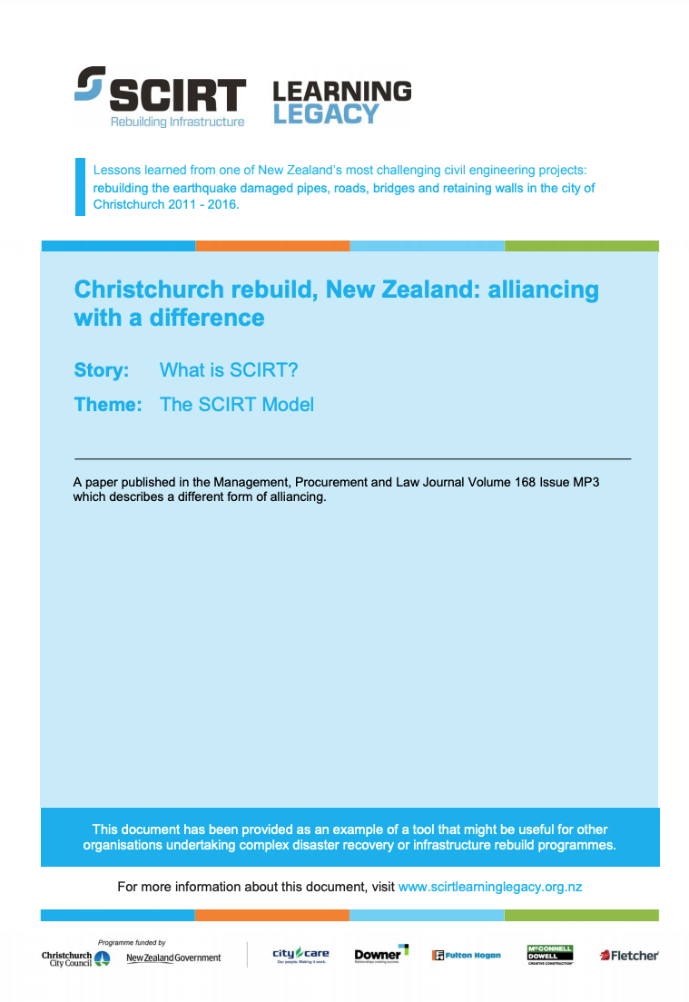 Christchurch rebuild, New Zealand: alliancing with a difference Cover