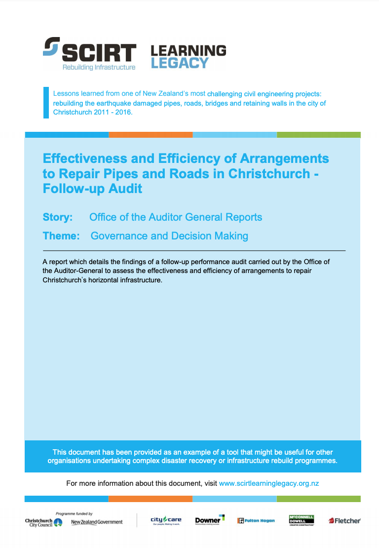 Effectiveness and efficiency of arrangements to repair pipes and roads in Christchurch: follow-up audit Cover