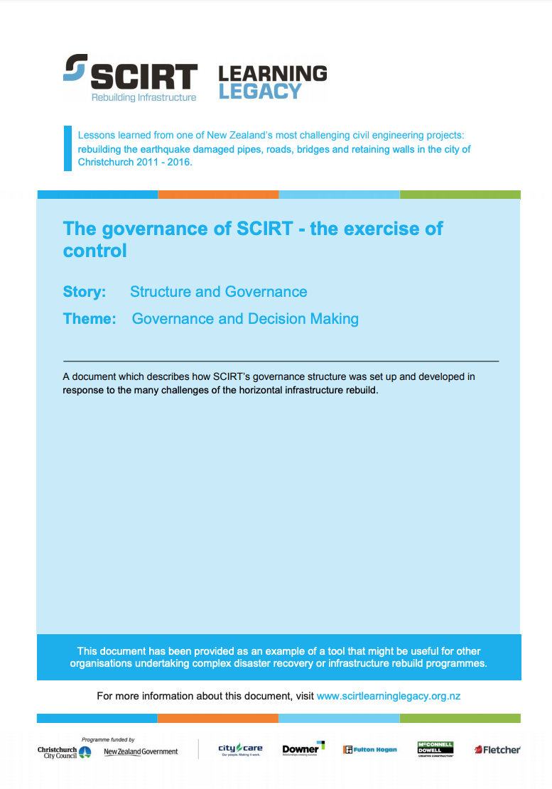 The governance of SCIRT - the exercise of control Cover