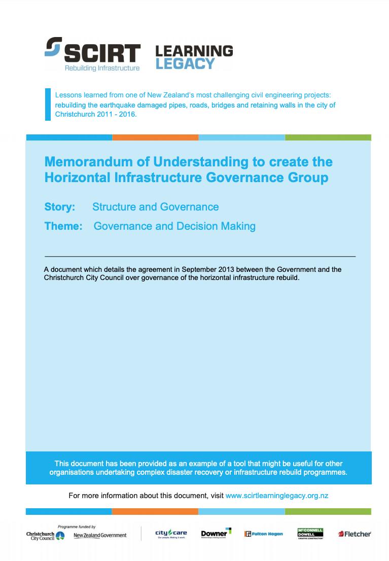 Memorandum of Understanding to create the Horizontal Infrastructure Governance Group Cover