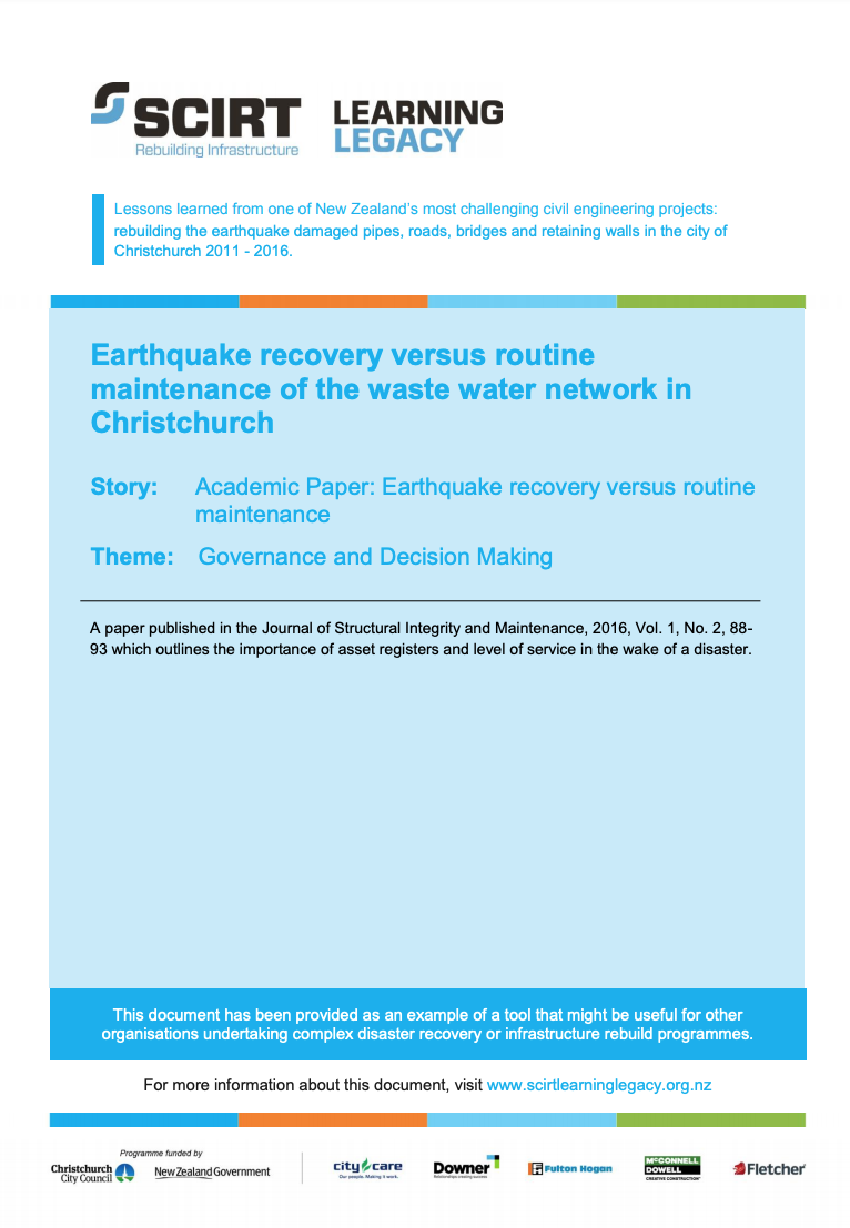 Earthquake recovery versus routine maintenance of the waste water network in Christchurch Cover