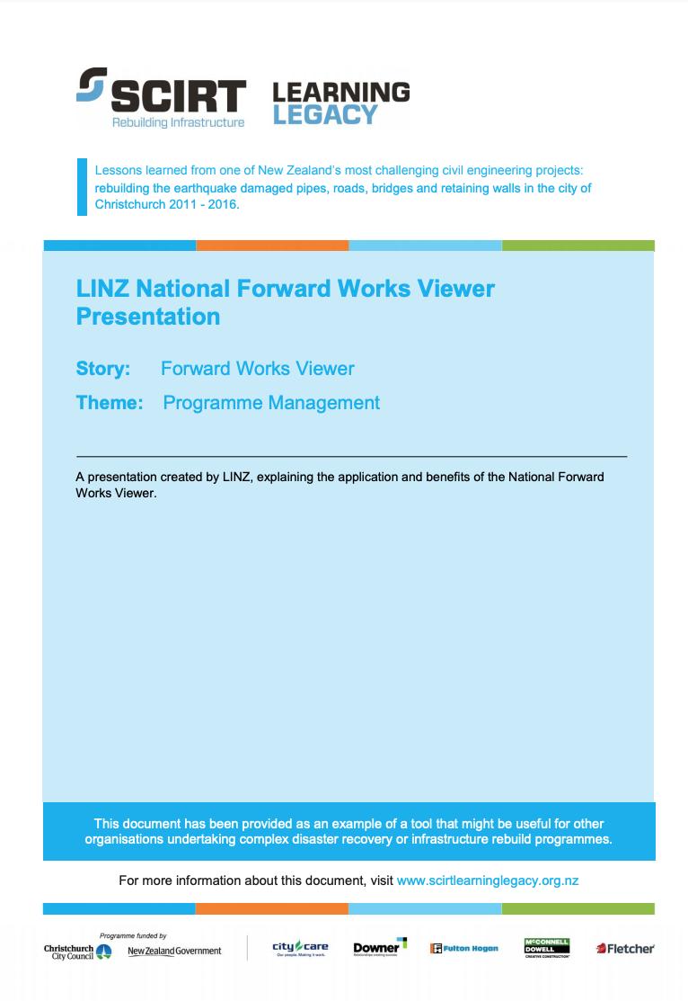LINZ National Forward Works Viewer Presentation Cover