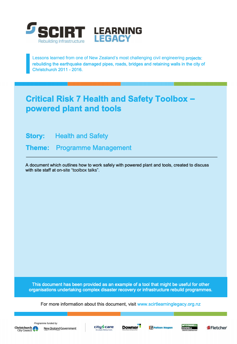 Critical Risk 7 Health and Safety Toolbox - powered plant and tools Cover