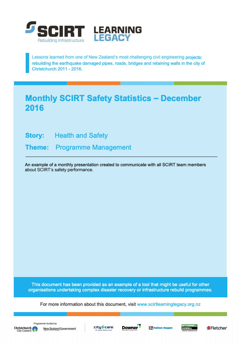 Monthly SCIRT Safety Statistics - December 2016 Cover