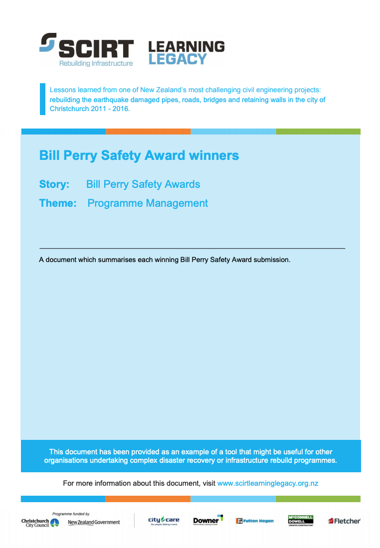 Bill Perry Safety Award winners Cover