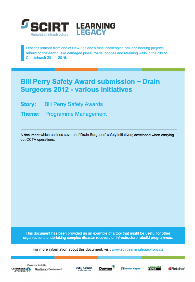 Bill Perry Safety Award submission - Drain Surgeons 2012 - various initiatives Cover