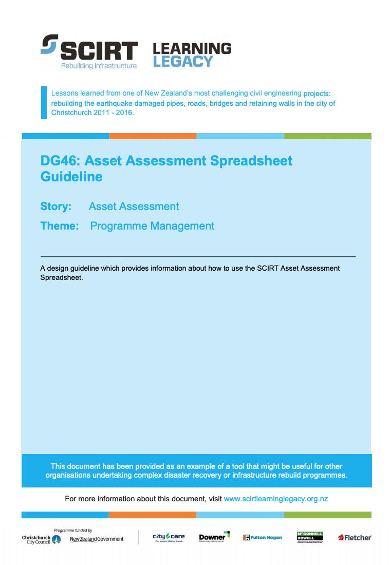 DG46: Asset Assessment Spreadsheet Guideline Cover