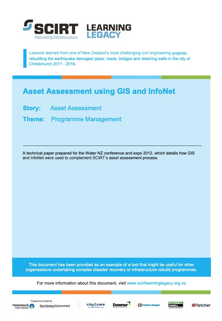 Asset Assessment using GIS and InfoNet Cover