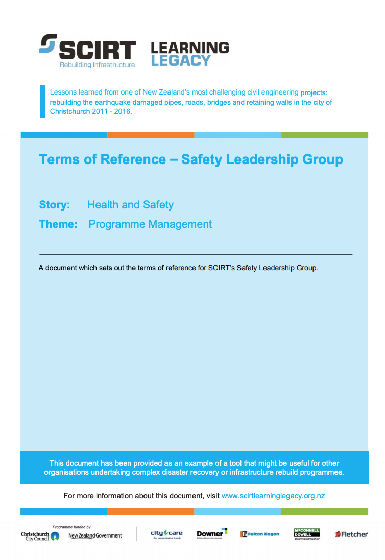 Terms of Reference - Safety Leadership Group Cover