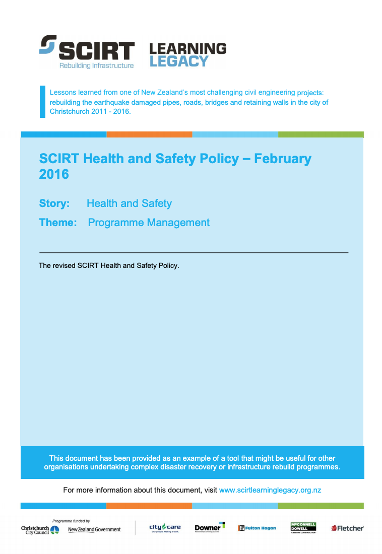 SCIRT Health and Safety Policy - February 2016 Cover