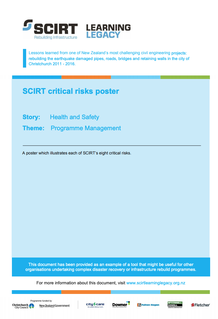 SCIRT critical risks poster Cover