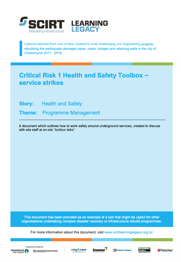 Critical Risk 1 Health and Safety Toolbox - service strikes Cover