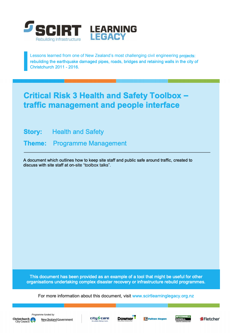 Critical Risk 3 Health and Safety Toolbox - traffic management and people interface Cover