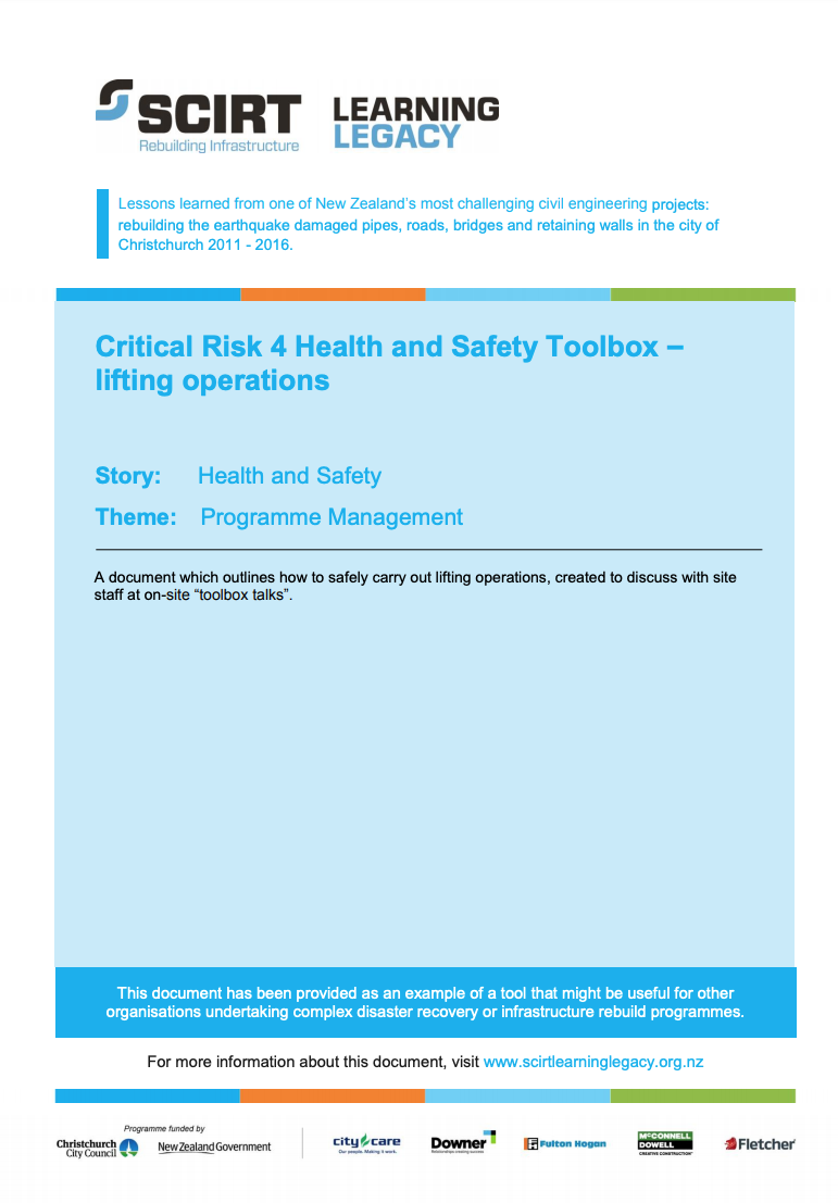 Critical Risk 4 Health and Safety Toolbox - lifting operations Cover