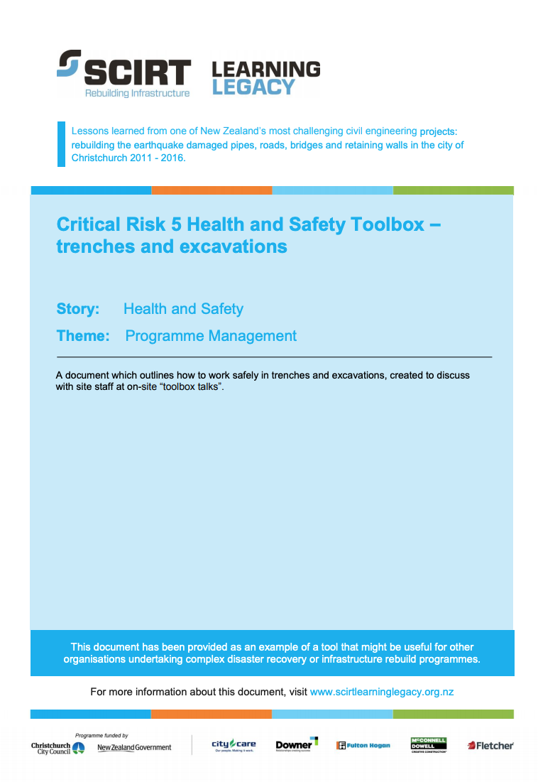 Critical Risk 5 Health and Safety Toolbox - trenches and excavations Cover