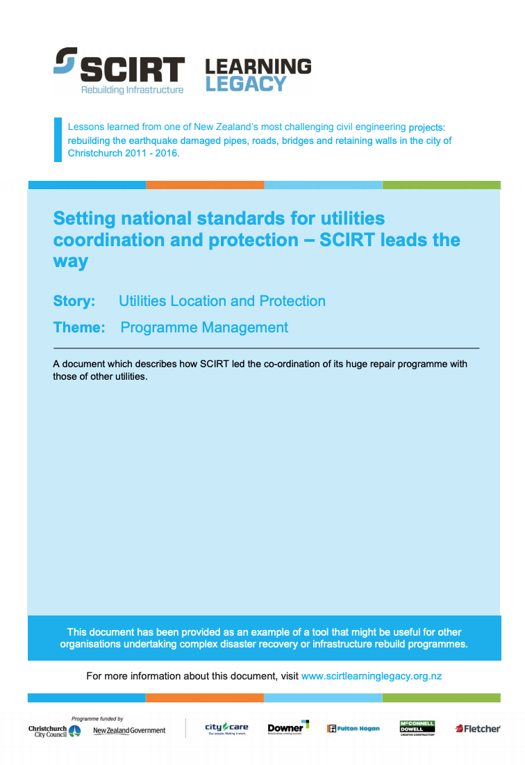 Setting national standards for utilities coordination and protection - SCIRT leads the way Cover