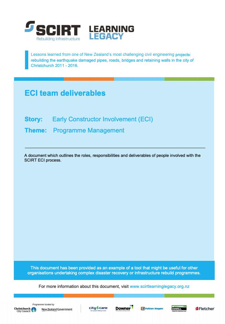 ECI team deliverables Cover
