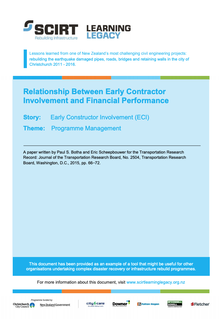 Relationship Between Early Contractor Involvement and Financial Performance in the Rebuilding of Infrastructure in Christchurch, New Zealand Cover