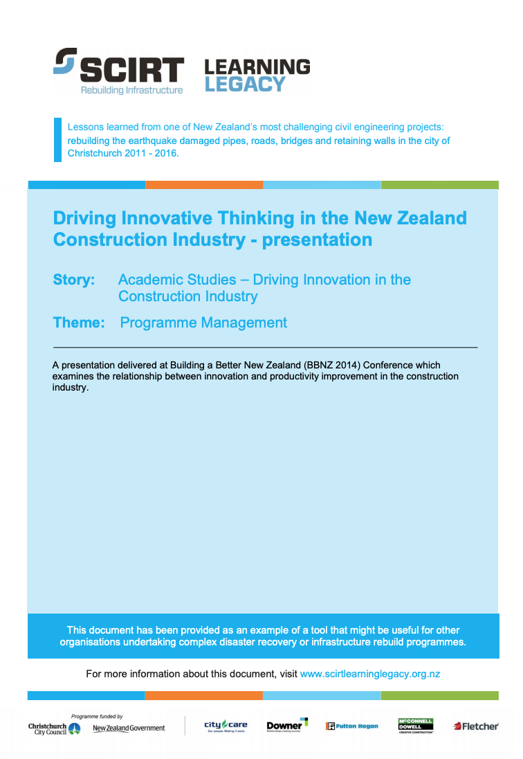Driving Innovative Thinking in the New Zealand Construction Industry - presentation Cover