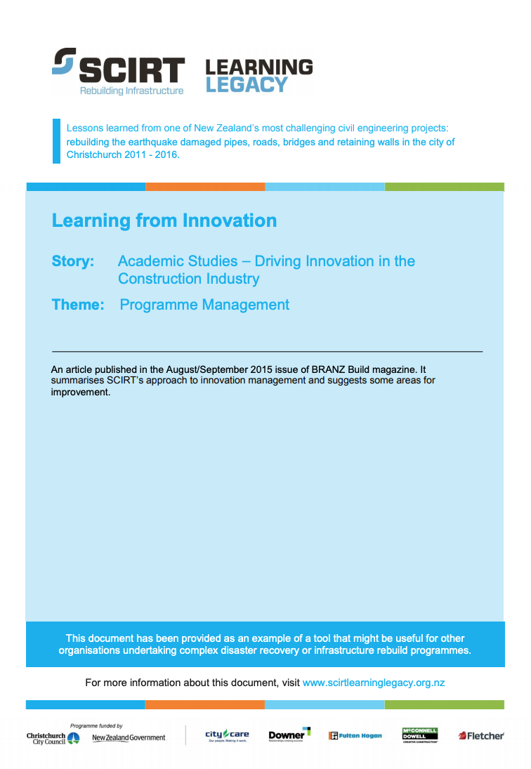 Learning from Innovation Cover