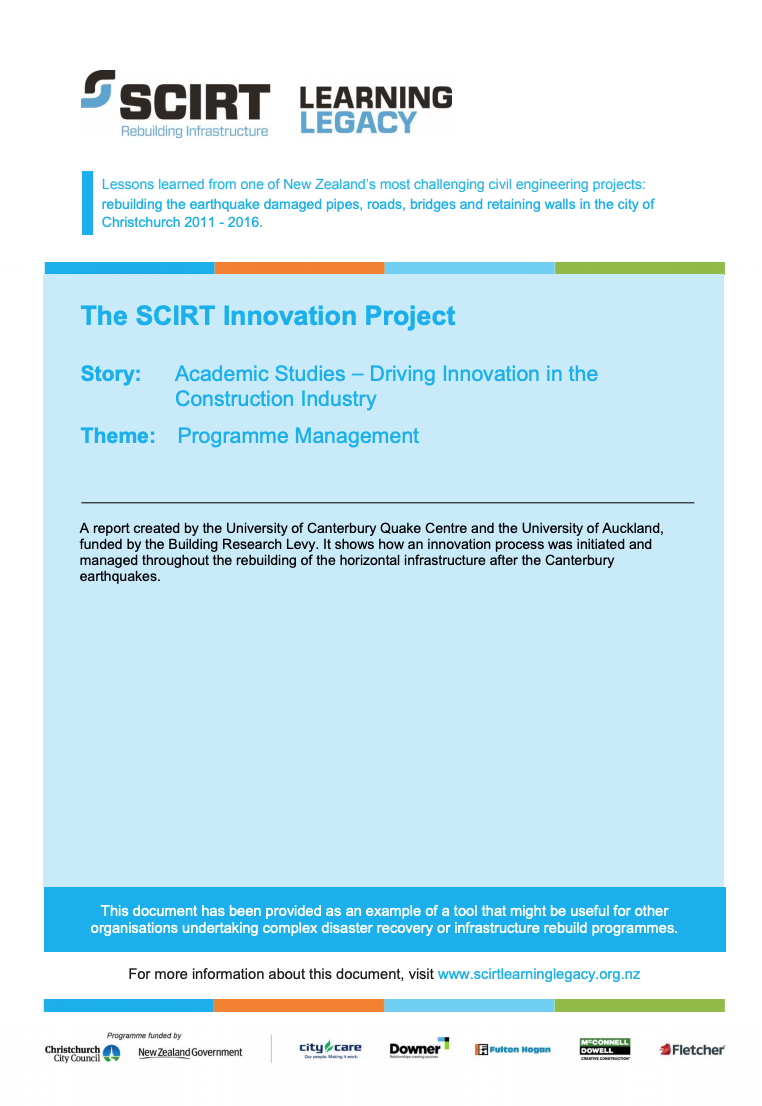 The SCIRT Innovation Project Cover