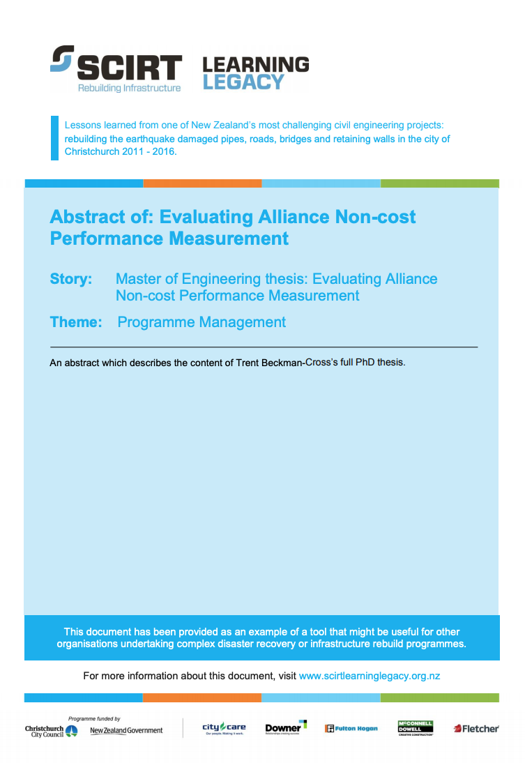 Abstract: Evaluating Alliance Non-cost Performance Measurement Cover