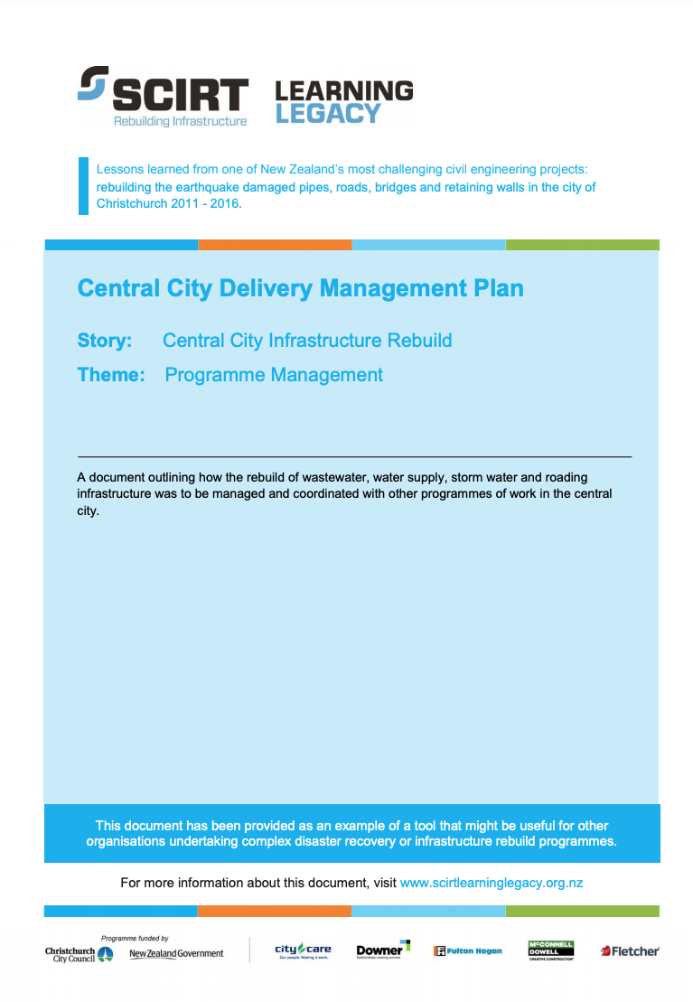 Central City Delivery Management Plan Cover