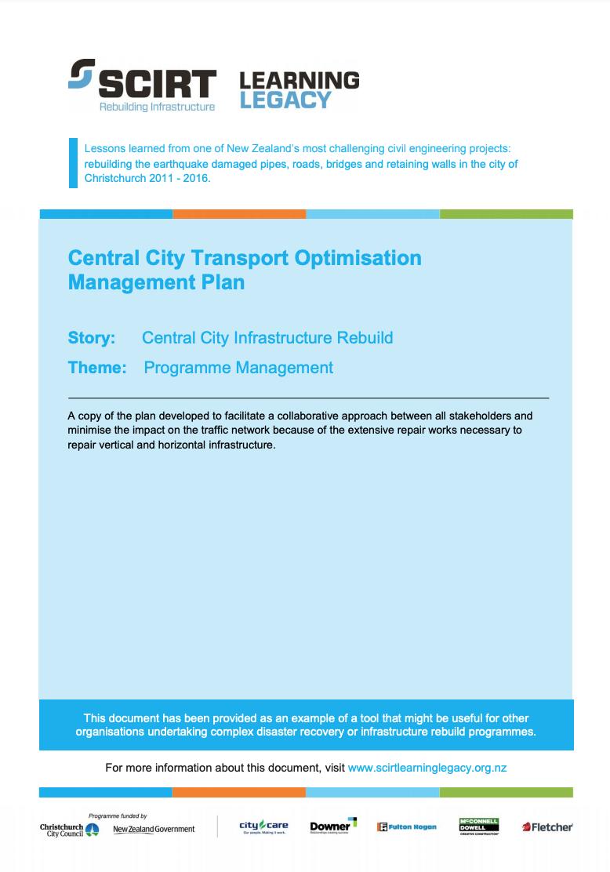 Central City Transport Optimisation Management Plan Cover