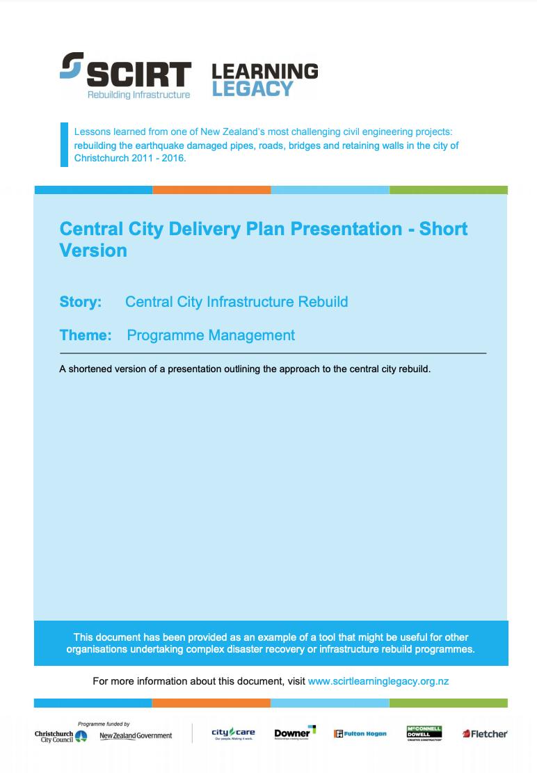Central City Delivery Plan Presentation - Short Version Cover