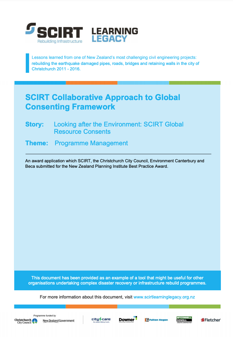 SCIRT Collaborative Approach to Global Consenting Framework Cover
