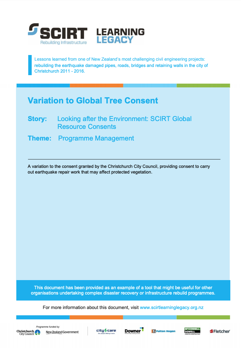 Variation to Global Tree Consent Cover