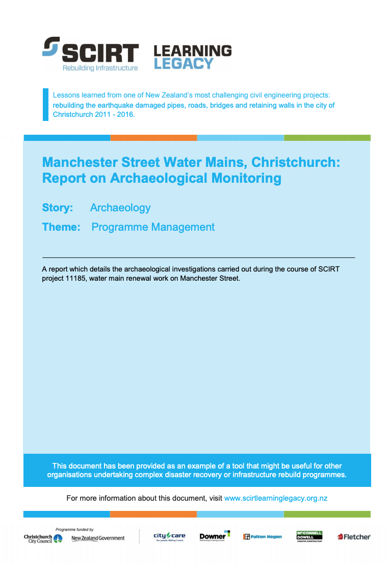 Manchester Street Water Mains, Christchurch: Report on Archaeological Monitoring Cover