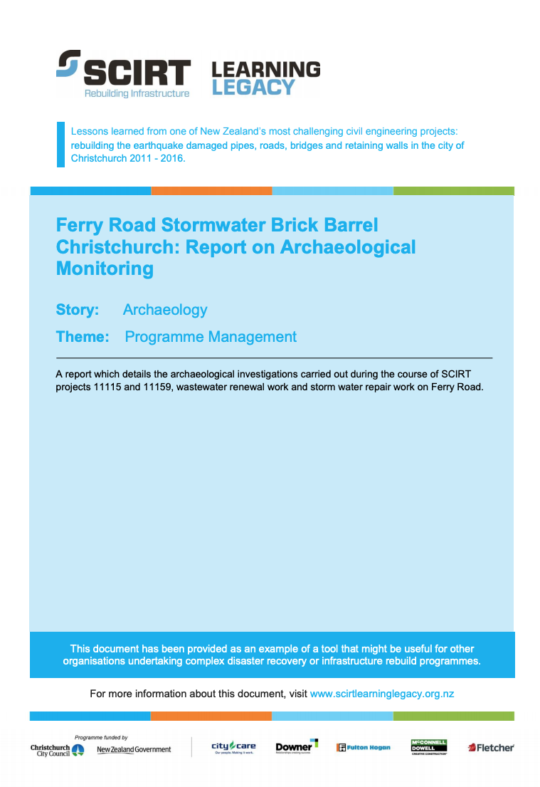 Ferry Road Stormwater Brick Barrel Christchurch: Report on Archaeological Monitoring Cover