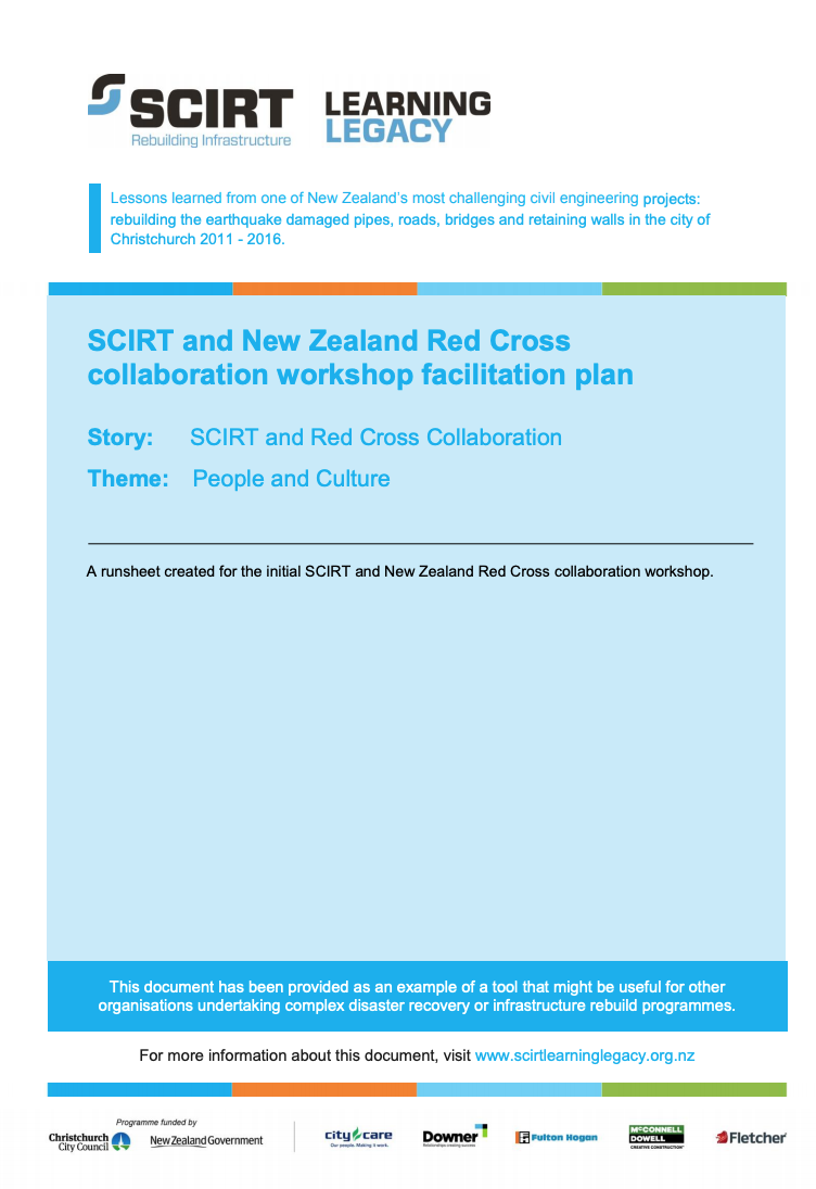 SCIRT and New Zealand Red Cross collaboration workshop facilitation plan Cover