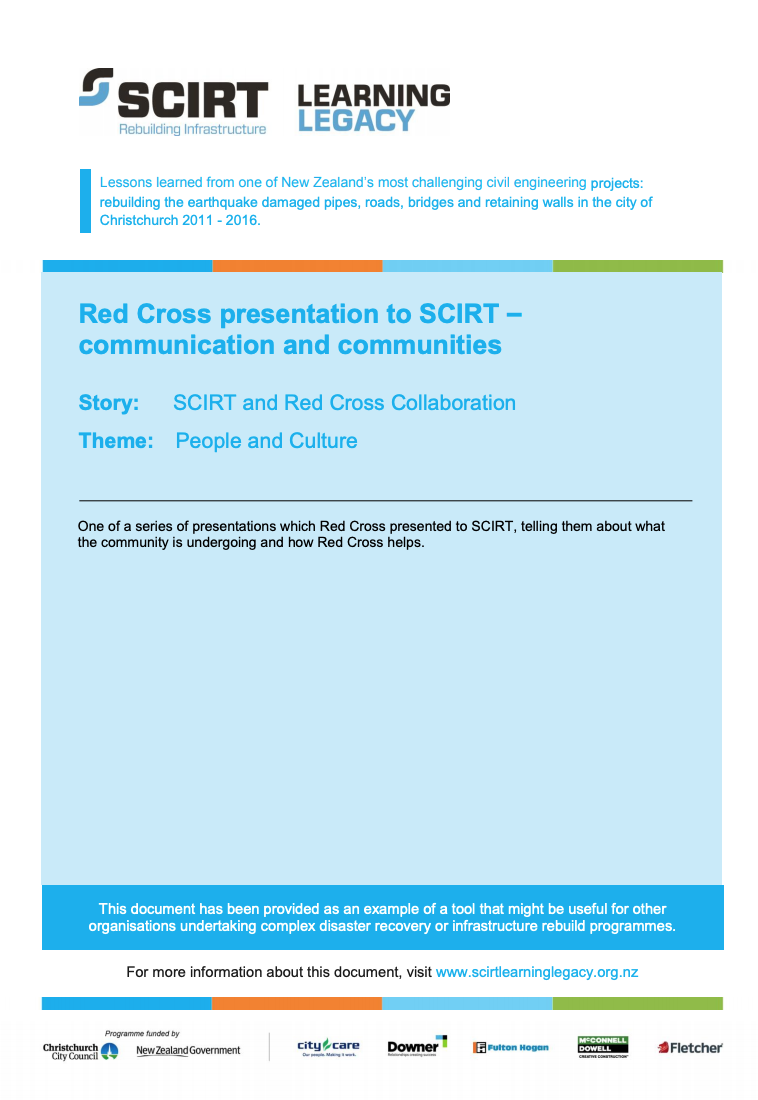 Red Cross presentation to SCIRT - communication and communities Cover