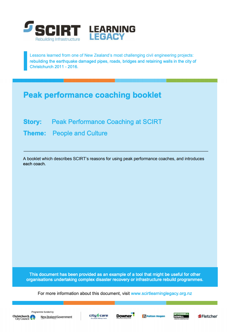 Peak performance coaching booklet Cover