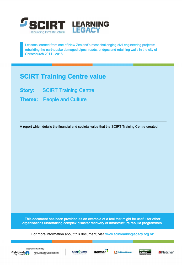 SCIRT Training Centre Value Cover