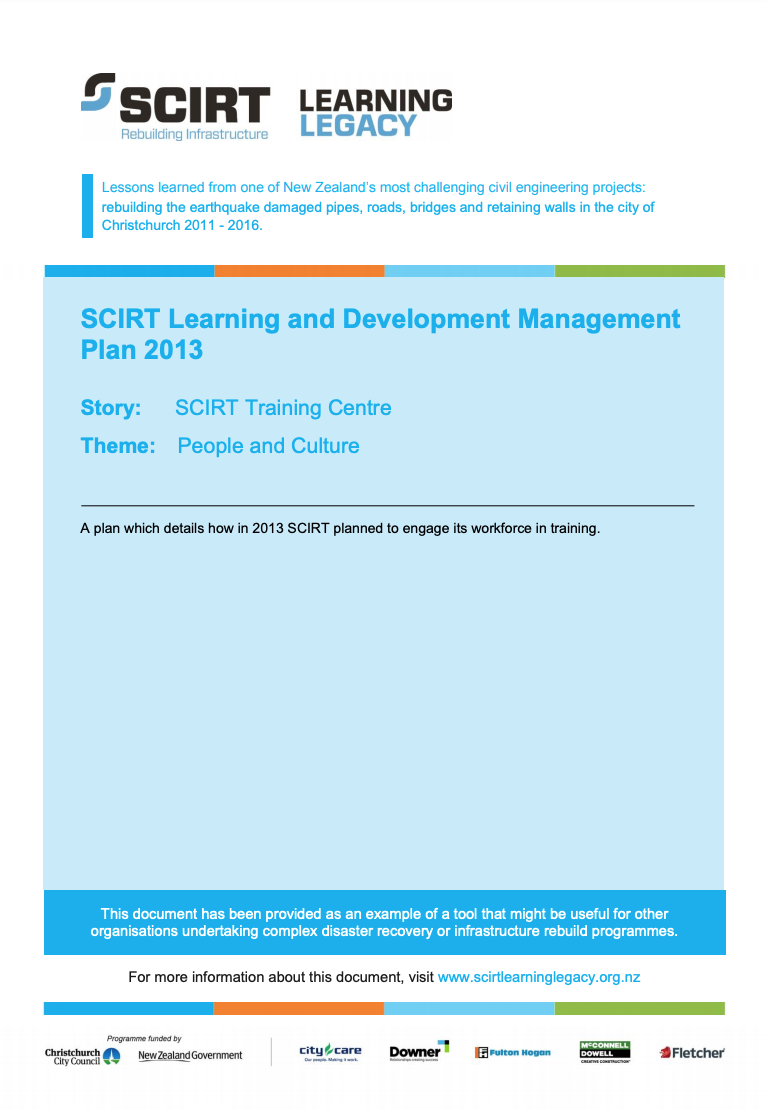 SCIRT Learning and Development Management Plan 2013 Cover