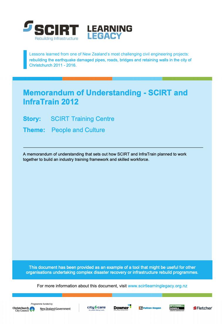 Memorandum of Understanding - SCIRT and InfraTrain 2012 Cover