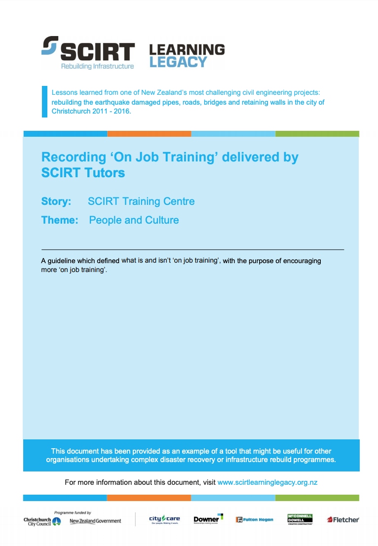 Recording 'On Job Training' delivered by SCIRT Tutors Cover