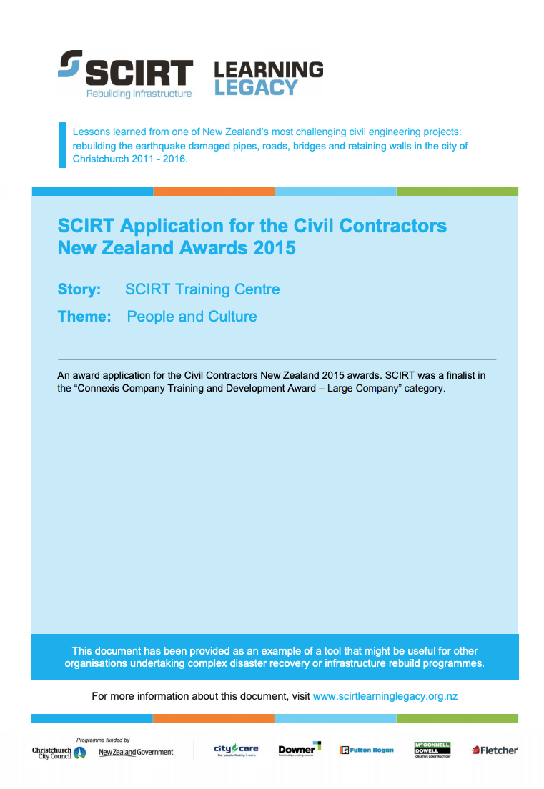 SCIRT Application for the Civil Contractors New Zealand Awards 2015 Cover