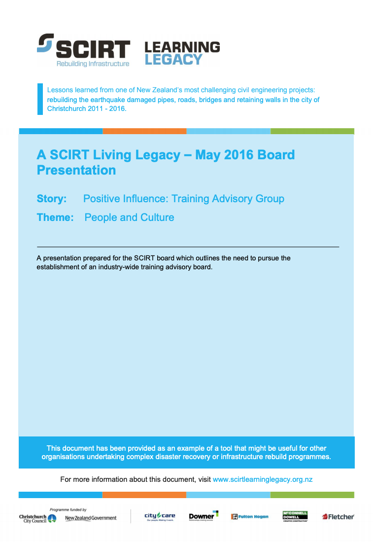 A SCIRT Living Legacy - May 2016 Board Presentation Cover
