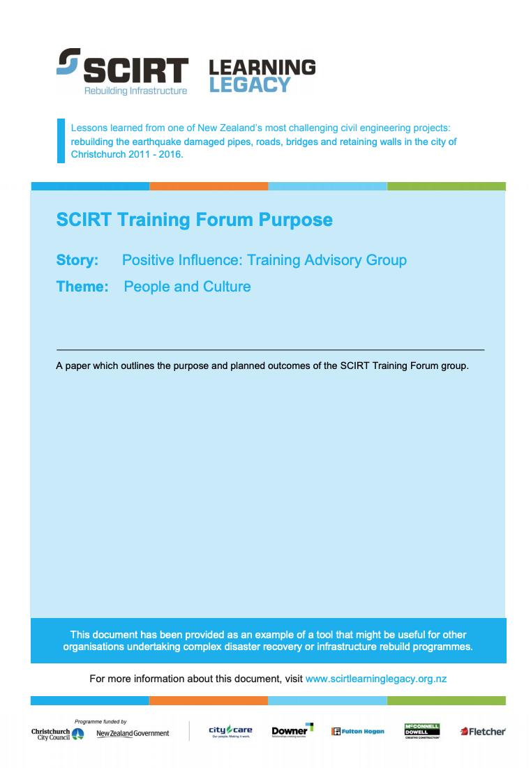 SCIRT Training Forum Purpose Cover