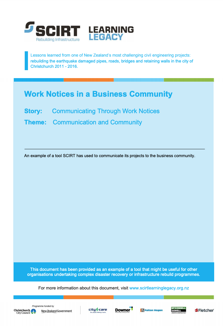 Work Notices in a business community Cover